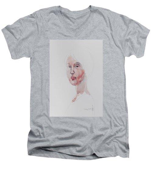 Wc Mini Portrait 1             Men's V-Neck T-Shirt by Becky Kim