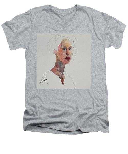 Wc Mini Portrait 2 Men's V-Neck T-Shirt by Becky Kim