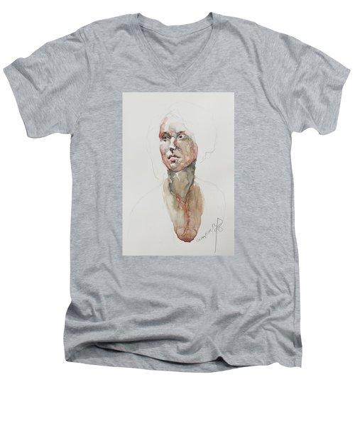 Wc Mini Portrait 5             Men's V-Neck T-Shirt by Becky Kim