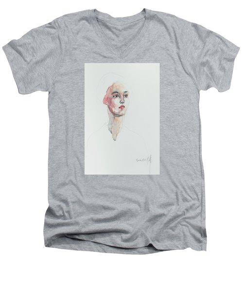 Men's V-Neck T-Shirt featuring the painting Wc Mini Portrait 6             by Becky Kim