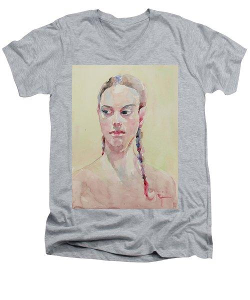 Wc Portrait 1619 Men's V-Neck T-Shirt by Becky Kim