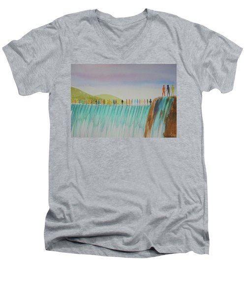 Men's V-Neck T-Shirt featuring the painting We Are All The Same 1.1 by Tim Mullaney