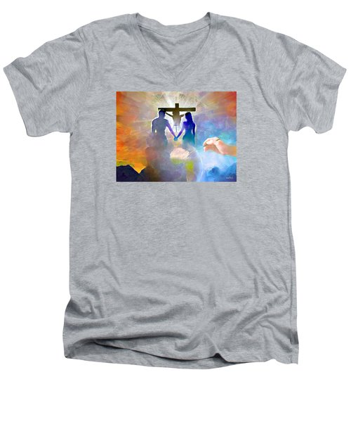 Men's V-Neck T-Shirt featuring the painting We Are God's Masterpiece by Wayne Pascall