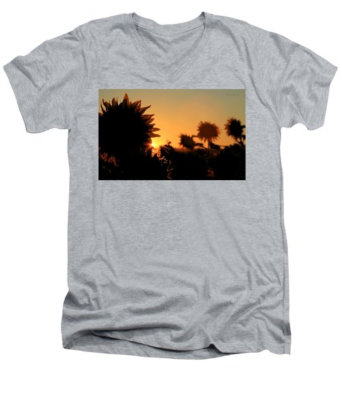 Men's V-Neck T-Shirt featuring the photograph We Are Sunflowers by Chris Berry