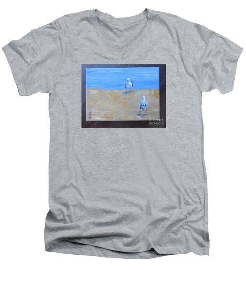 We First Met On The Beach Men's V-Neck T-Shirt