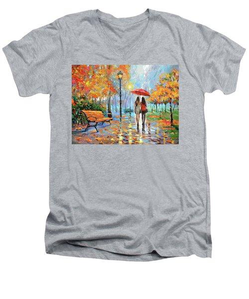 We Met In Park          Men's V-Neck T-Shirt by Dmitry Spiros