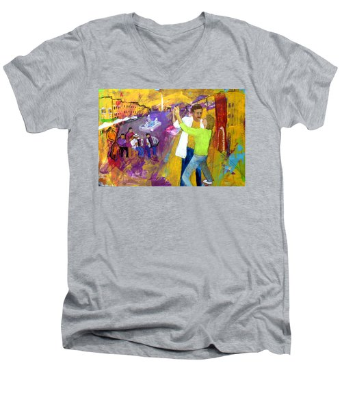 We Tangoed On The Piazza Navono Men's V-Neck T-Shirt