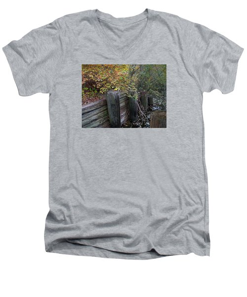 Weathered Wood In Autumn Men's V-Neck T-Shirt by Cedric Hampton