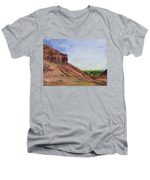 Men's V-Neck T-Shirt featuring the painting Weber Sandstone by Jane Autry