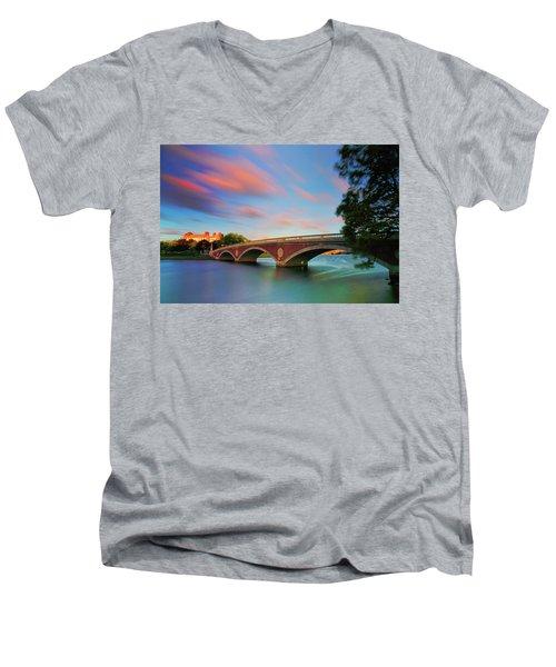 Weeks' Bridge Men's V-Neck T-Shirt by Rick Berk