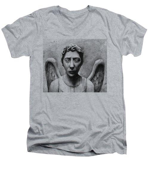 Weeping Angel Don't Blink Doctor Who Fan Art Men's V-Neck T-Shirt by Olga Shvartsur