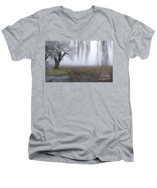 Weeping Frozen Willow Men's V-Neck T-Shirt by Amy Fearn