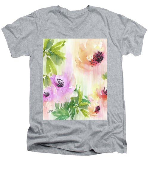 Men's V-Neck T-Shirt featuring the painting Weeping Rose Forest by Colleen Taylor