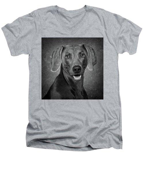 Weimaraner In Black And White Men's V-Neck T-Shirt by Greg Mimbs