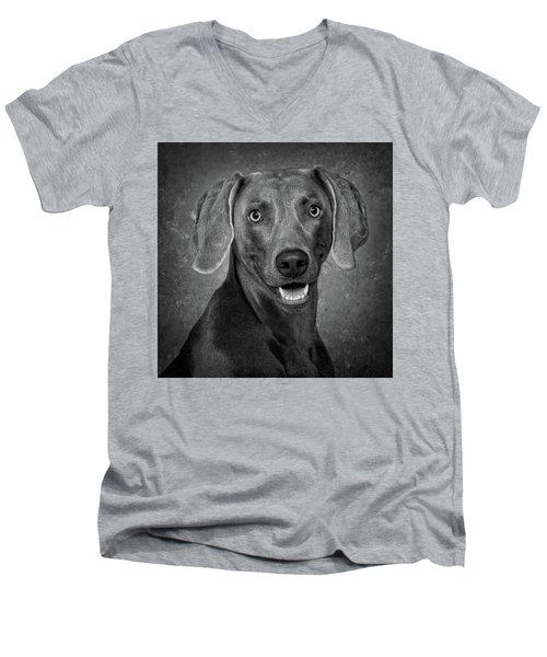 Weimaraner In Black And White Men's V-Neck T-Shirt