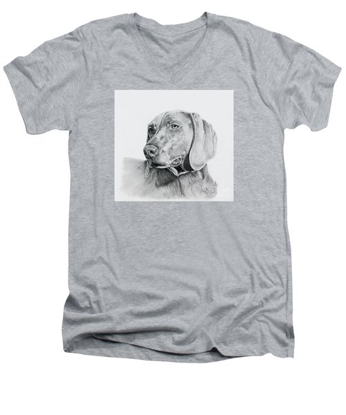 Men's V-Neck T-Shirt featuring the drawing Weimaraner by Terri Mills