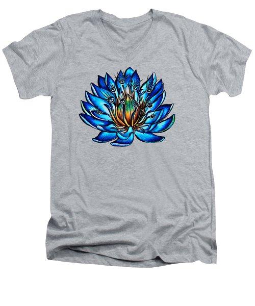 Weird Multi Eyed Blue Water Lily Flower Men's V-Neck T-Shirt