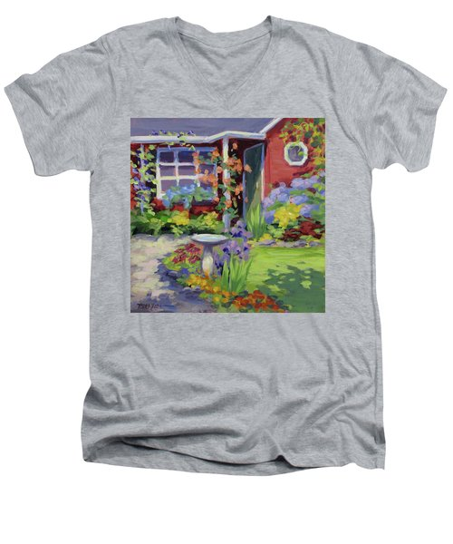 Welcome Home Men's V-Neck T-Shirt by Karen Ilari