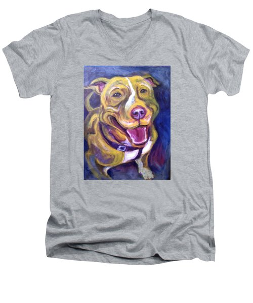 Men's V-Neck T-Shirt featuring the painting Welcome Home by Laura Aceto