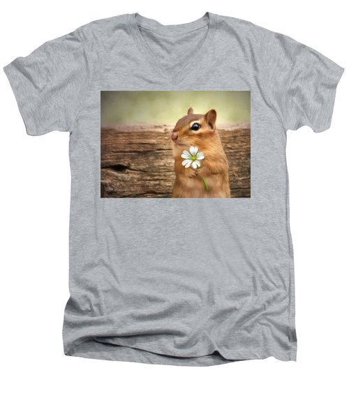 Welcome Spring Men's V-Neck T-Shirt by Lori Deiter