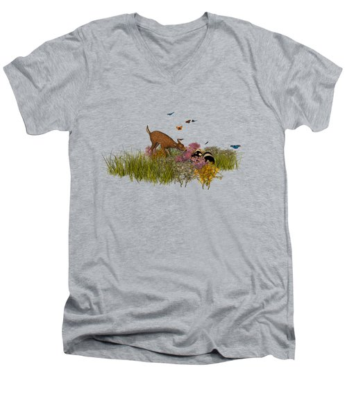 Welcome Spring Men's V-Neck T-Shirt by Methune Hively