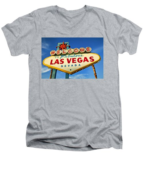 Welcome To Las Vegas Sign Men's V-Neck T-Shirt by Garry Gay