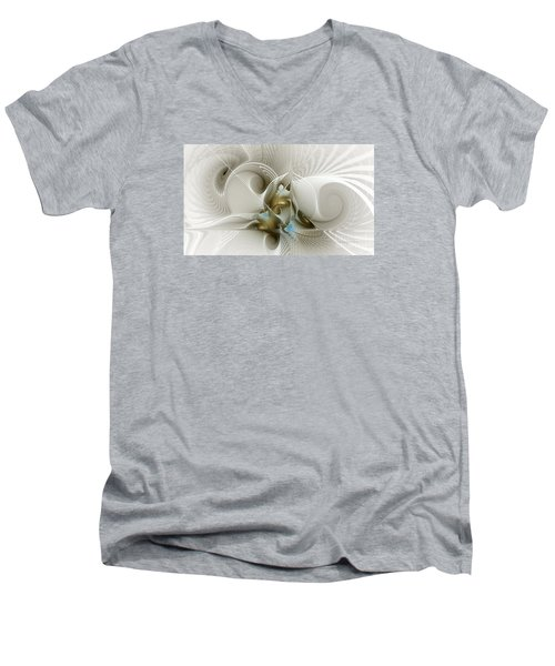 Welcome To The Second Floor-fractal Art Men's V-Neck T-Shirt by Karin Kuhlmann