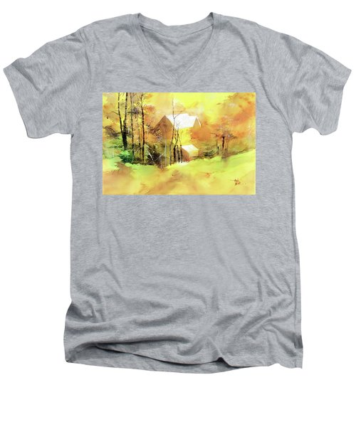 Men's V-Neck T-Shirt featuring the painting Welcome Winter by Anil Nene