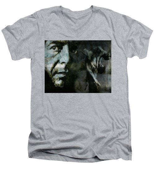 Men's V-Neck T-Shirt featuring the painting Well , I've Heard There Is A Secret Chord by Paul Lovering