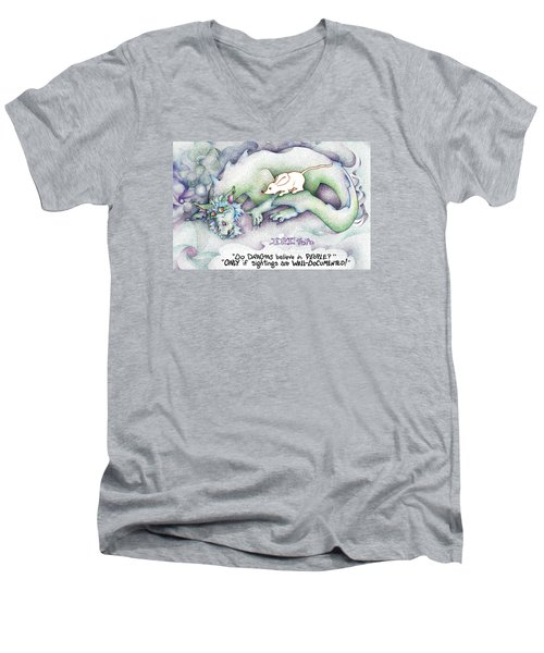 Men's V-Neck T-Shirt featuring the painting Well Documented Fpi Editorial Cartoon by Dawn Sperry