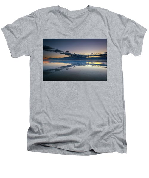 Men's V-Neck T-Shirt featuring the photograph Wells Beach Reflections by Rick Berk