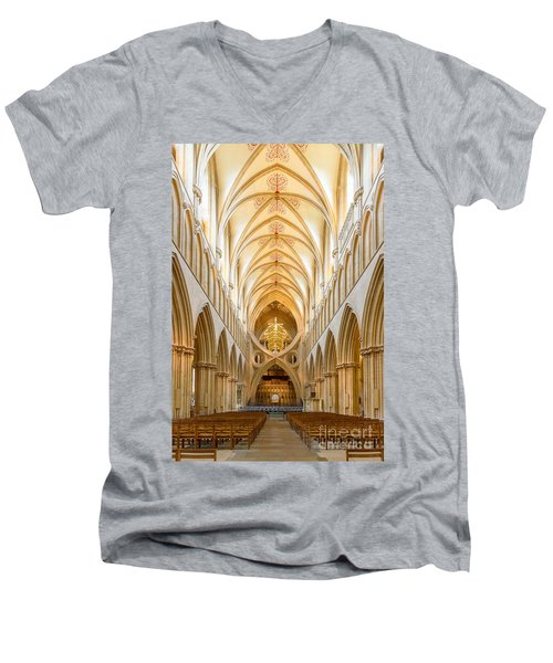 Wells Cathedral Nave Men's V-Neck T-Shirt by Colin Rayner