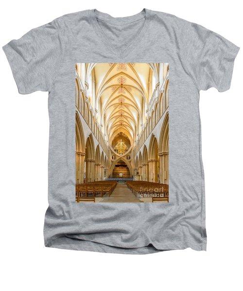 Wells Cathedral Nave Men's V-Neck T-Shirt