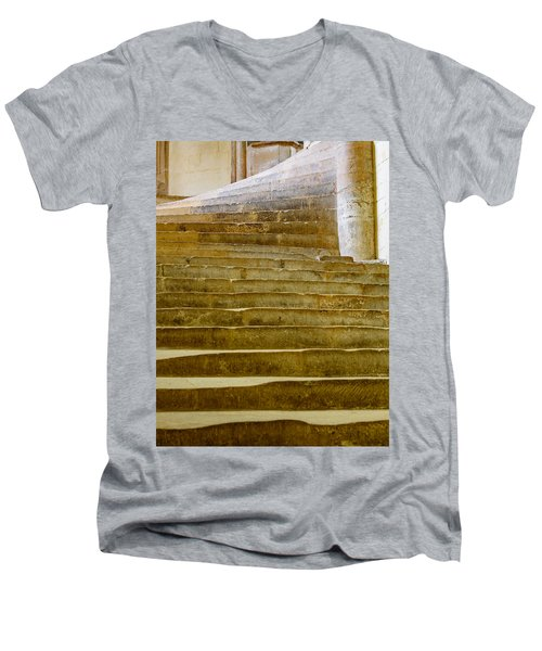 Men's V-Neck T-Shirt featuring the photograph Wells Cathedral Steps by Colin Rayner