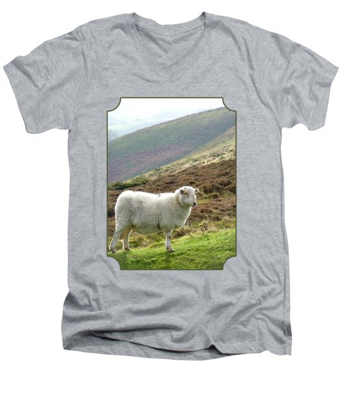 Welsh Mountain Sheep Men's V-Neck T-Shirt by Gill Billington