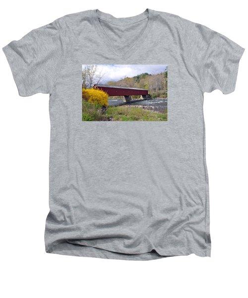 West Cornwall Ct Covered Bridge Men's V-Neck T-Shirt by Glenn Gordon