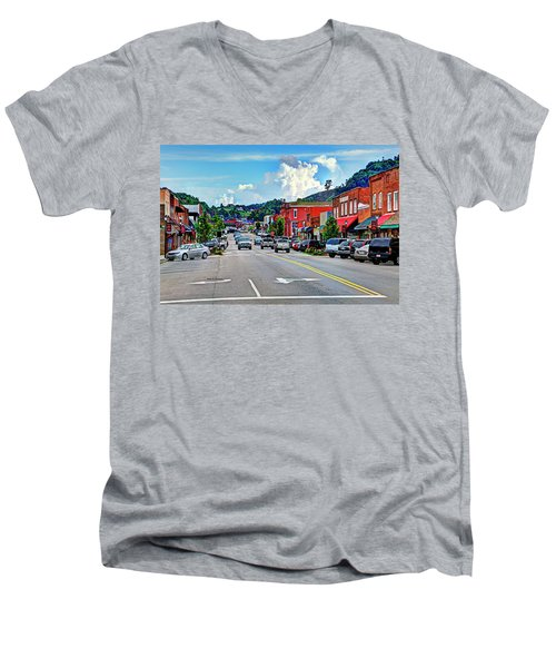 West Jefferson Streetscape Men's V-Neck T-Shirt by Dale R Carlson