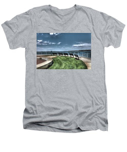 West Lake Okoboji Pier Men's V-Neck T-Shirt