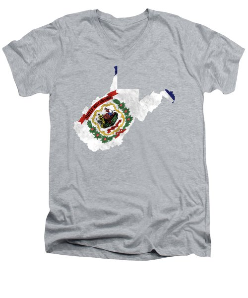 West Virginia Map Art With Flag Design Men's V-Neck T-Shirt