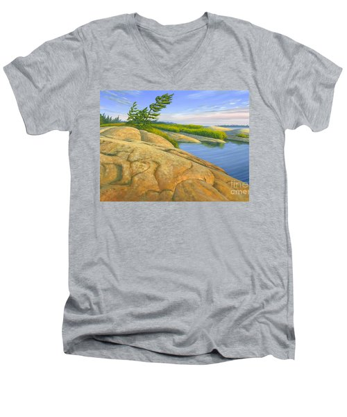 Men's V-Neck T-Shirt featuring the painting Wind Swept by Michael Swanson