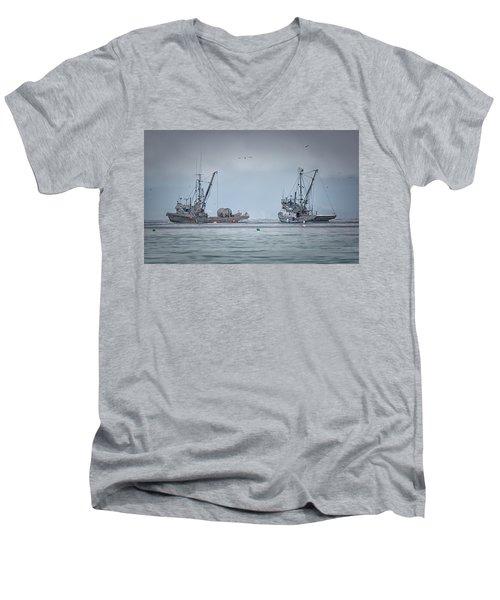 Western Gambler And Marinet Men's V-Neck T-Shirt by Randy Hall