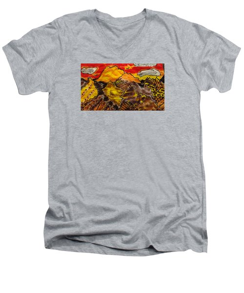 Men's V-Neck T-Shirt featuring the painting Western Hills 4 by Don Koester