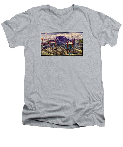 Western Rail Station, Budapest Men's V-Neck T-Shirt