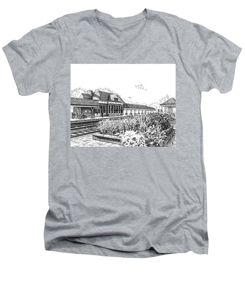 Western Springs Train Station Men's V-Neck T-Shirt