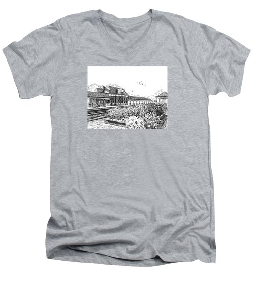 Western Springs Train Station Men's V-Neck T-Shirt