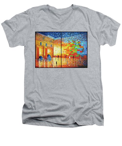 Men's V-Neck T-Shirt featuring the painting Western Wall Jerusalem Wailing Wall Acrylic Painting 2 Panels by Georgeta Blanaru