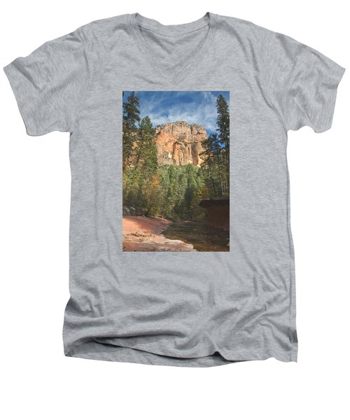 Men's V-Neck T-Shirt featuring the photograph Westfork Trail by Tom Kelly