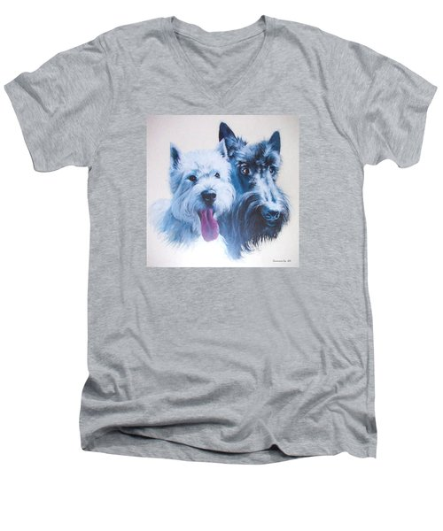 Westie And Scotty Dogs Men's V-Neck T-Shirt