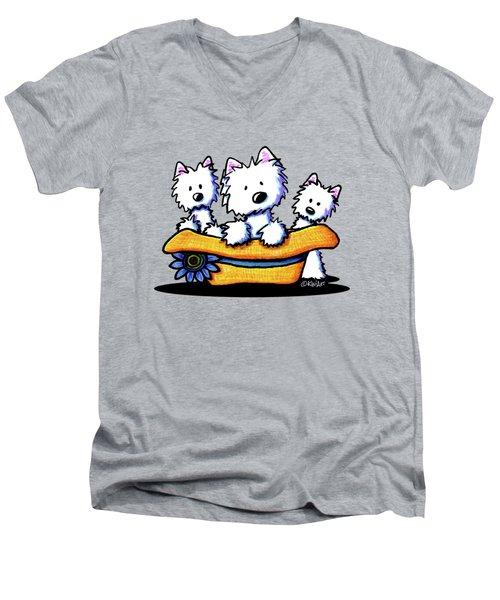 Westie Hat Trio Men's V-Neck T-Shirt by Kim Niles