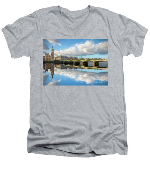 Men's V-Neck T-Shirt featuring the photograph Westminster Bridge London by Adrian Evans